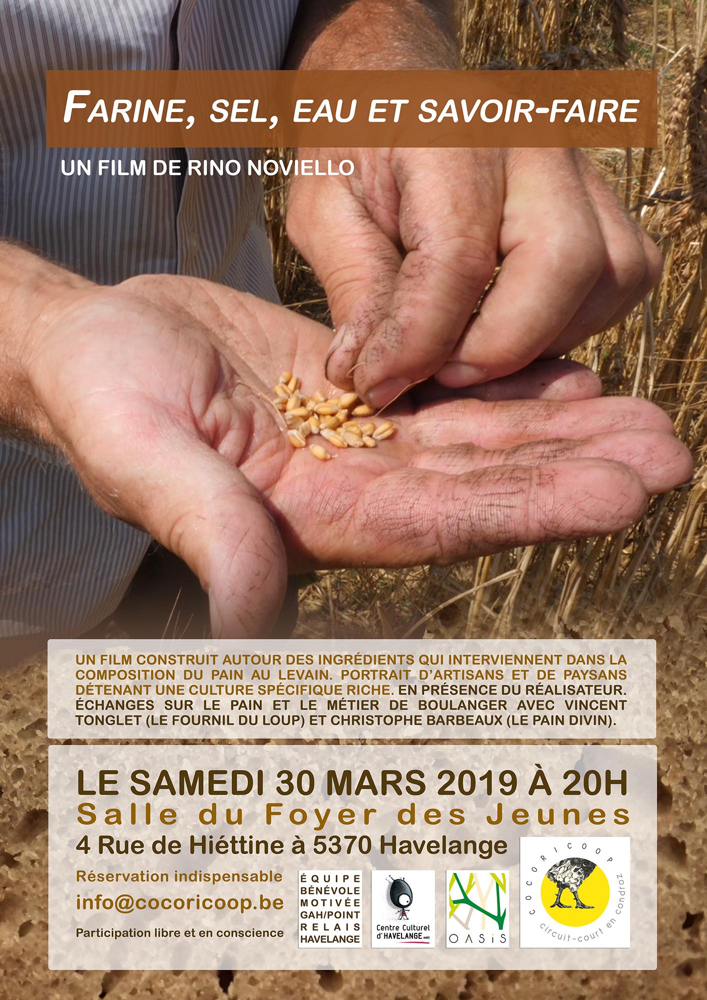 """Projection du film """"Farine, sel, eau et savoir-faire"""" le samedi 30 mars 2019 à Havelange"""